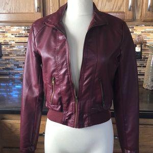 Miss London faux leather pleather jacket burgundy